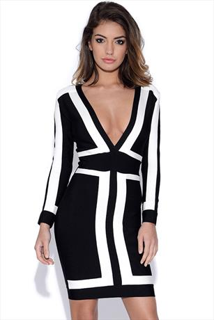 Black and White Long Sleeved Bandage Dress