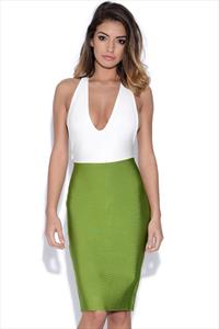 White and Lime Green Contrast Sexy Bandage Dress