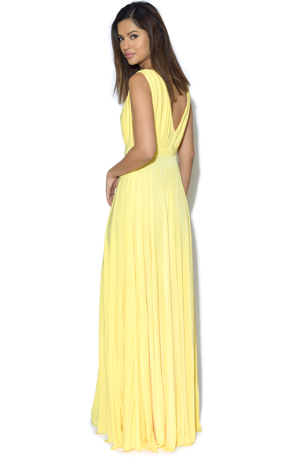 Low V Neck Pleated Maxi Dress