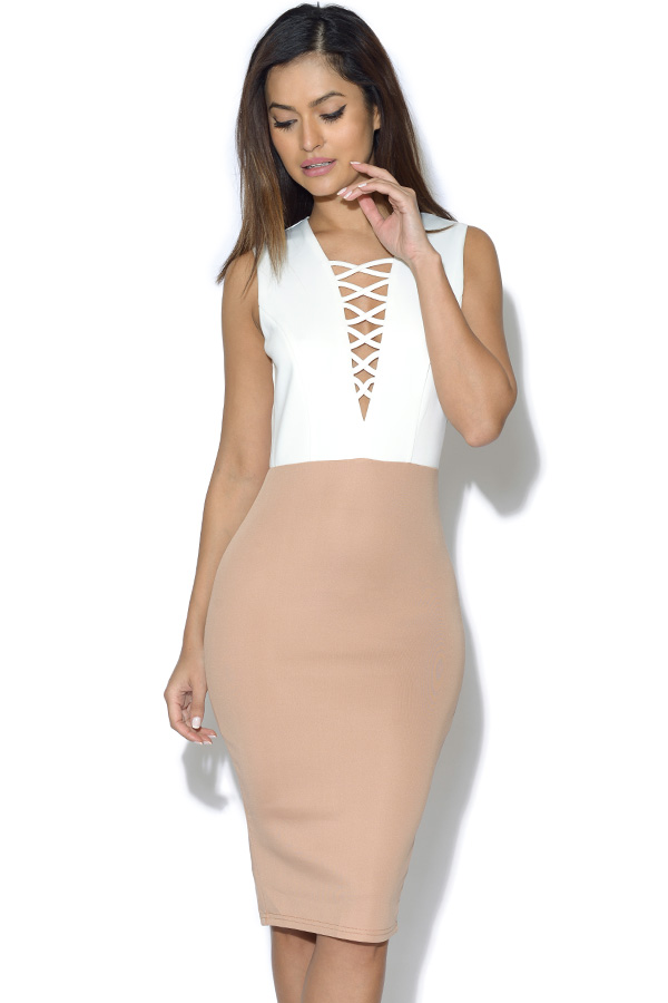 AX Paris Lace Up Front Bodycon Dress