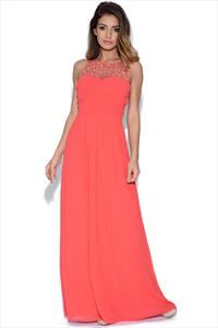 Little Mistress Embellished Neck Maxi Dress