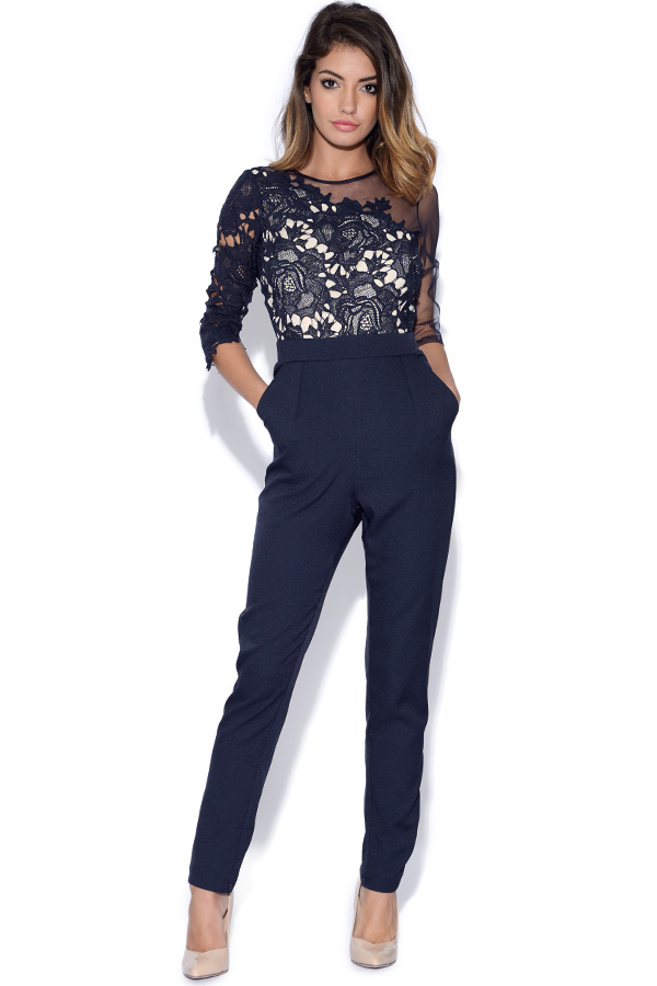 Crochet Jumpsuit : Vestry Little Mistress Navy Crochet and Sheer Jumpsuit in Navy Blue