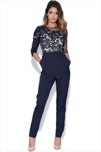Little Mistress Navy Crochet and Sheer Jumpsuit