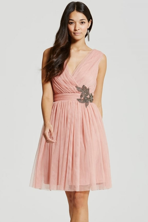 32e242fb361 Little Mistress Peach Embellished Prom Dress