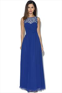 Little Mistress Cobalt Embellished Neck Maxi Dress