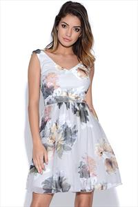 Little Mistress Floral Print Embellished Trim Dress