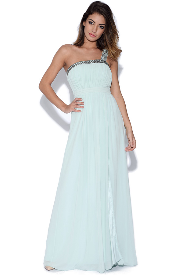 Little Mistress Mint Embellished Trim Maxi Dress