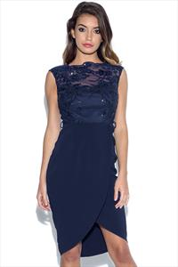 Little Mistress Navy Embroidered Sequin Midi Dress