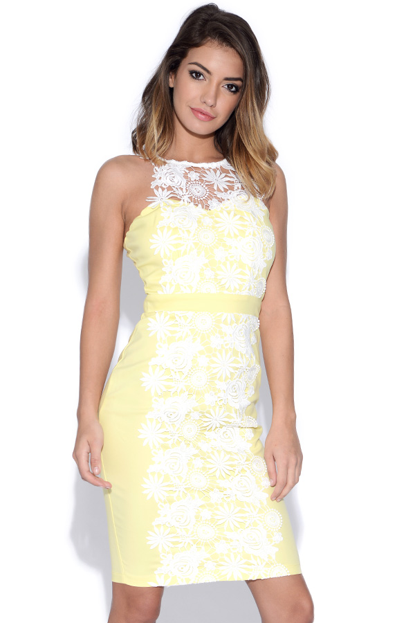 Paper Dolls Lemon and Cream Crochet Lace Applique Dress