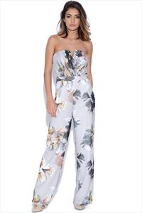 Little Mistress Floral Print Bandeau Jumpsuit