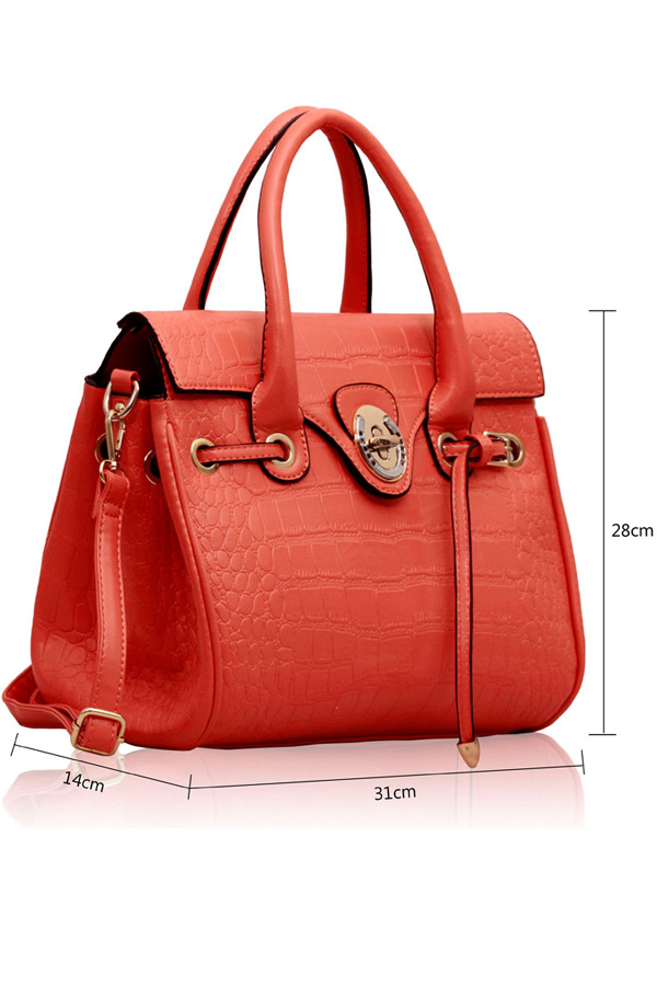 Teagan Croc Textured Satchel Bag
