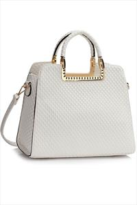 Jayla White Textured Tote Bag