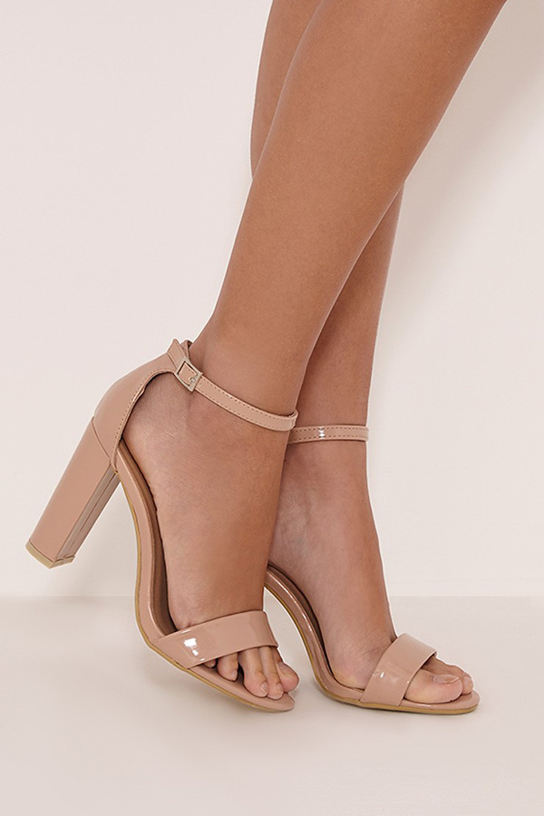 Patent Nude Strappy Sandals