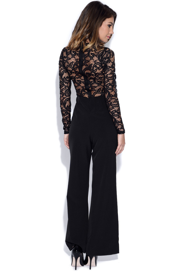 Long Sleeved Black Lace Jumpsuit