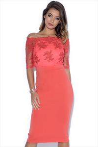 Little Mistress Coral Lace Bardot Midi Dress