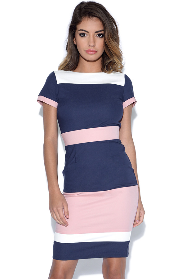 Paper Dolls Blush, Navy and Cream Panel Dress