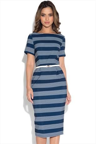 Paper Dolls Navy Stripe Pencil Dress with Belt