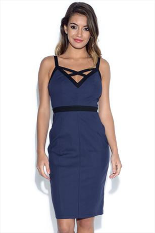 Paper Dolls Navy and Black Panel Strap Dress