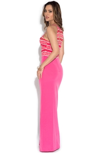 Paper Dolls Pink Stripe Lace Halter Maxi Dress