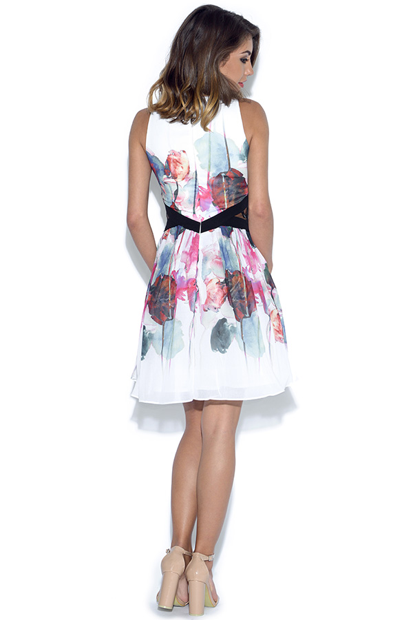Little Mistress Watercolour Print Cut Out Prom Dress
