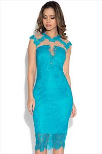 Little Mistress Turquoise Lace High Neck Bodycon Dress