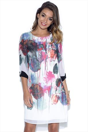 Little Mistress Watercolour Print Exposed Back Shift Dress