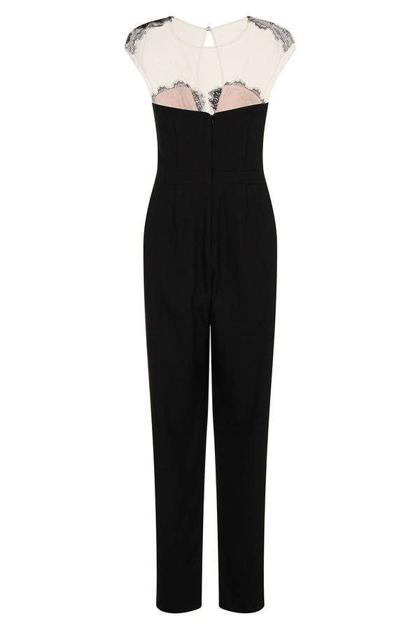 Little Mistress Monochrome Lace Bust Jumpsuit