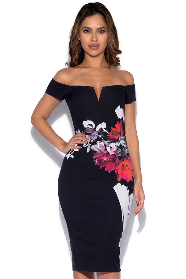 Little Mistress Rose Print Bardot Wiggle Dress