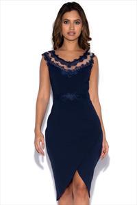 Little Mistress Navy Lace Midi Dress with Wrap Skirt