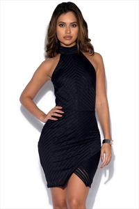 Girls On Film Black Halter Neck Dress With Wrap Skirt