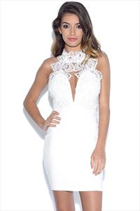 RARE High Neck Plunge Lace Mini Dress