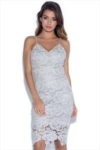 AX Paris V Neck Lace Midi Dress
