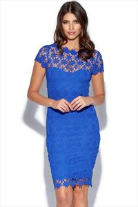 Blue Crochet Lace Dress With V-Neck Detail