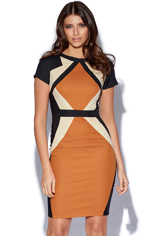 Camel and Black Contrast Panel Dress