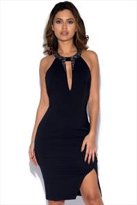 Little Mistress Black Embellished Dress with Keyhole
