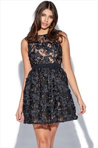 Black Mini Floral Applique Prom Dress
