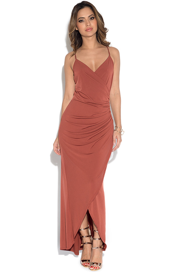 V Neck Slinky Wrap Maxi Dress