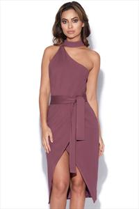 Lavish Alice Asymmetric Halterneck Tie Front Dress