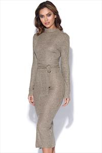 Lavish Alice Rib Knit Open Back Wrap Tie Midi Dress