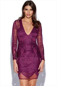 Lavish Alice Embroidered Mesh Deep Plunge Dress