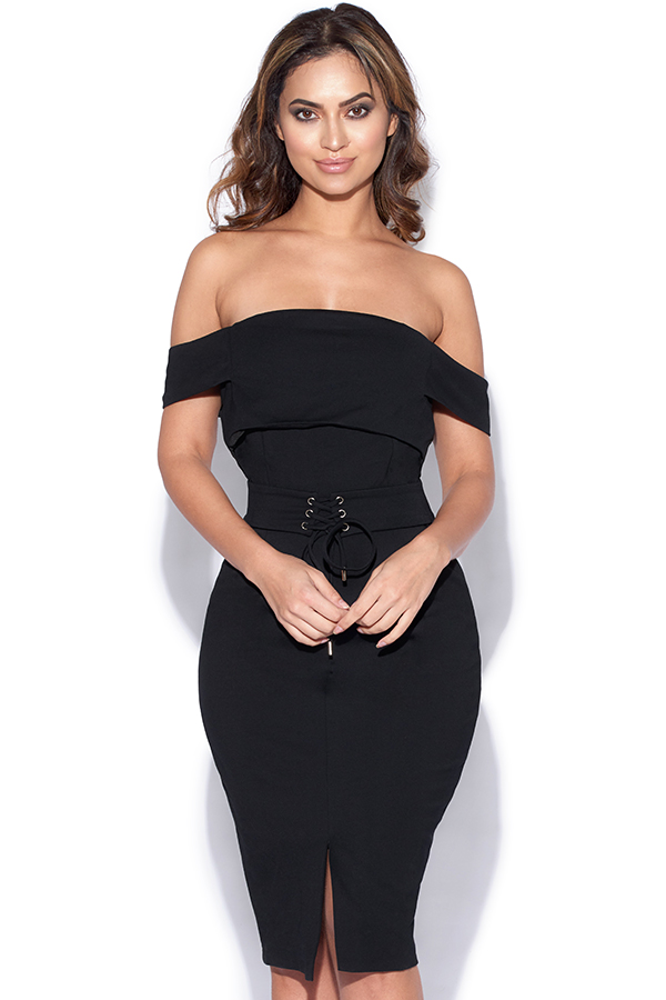 Lavish Alice Off The Shoulder Corset Belt Detail Dress