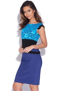 Two Tone Blue Lace Bodycon Dress