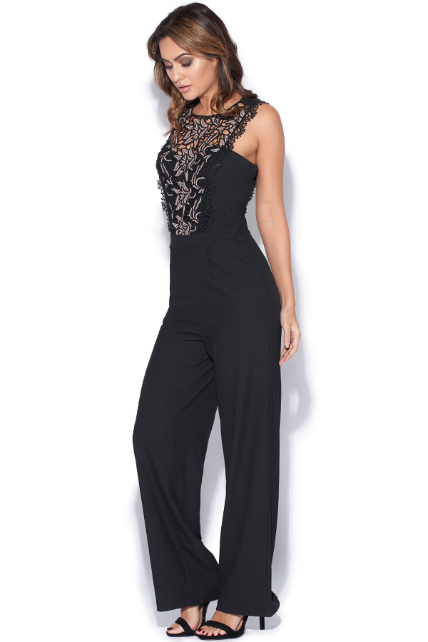 Black Jumpsuit With Lace Panel