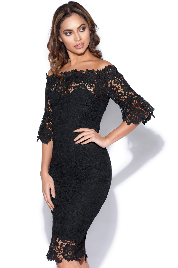 Black Floral Crochet Lace Bardot Dress