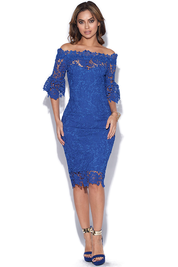 Blue Floral Crochet Lace Bardot Dress