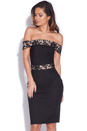 Black Contrast Lace Bardot Dress