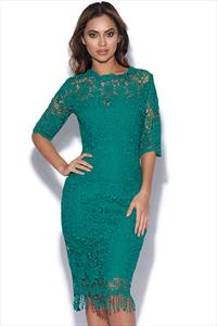 Jade Crochet Lace Dress With High Neck