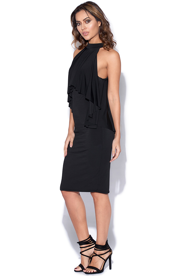 High Neck Black Party Dress