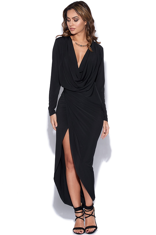 Cowl Neck Drape Dress