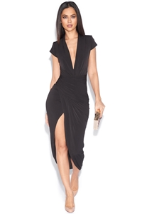 Cap Sleeve Plunge Front Dress